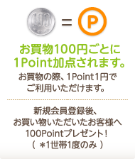 お買い物100円ごとに1Point加算されます